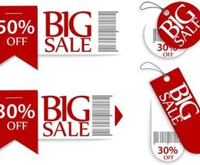 Sale Red Elements vectors material