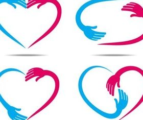 Shiny Color Hearts Elements vector