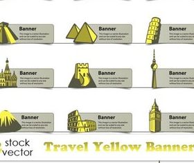 Travel Yellow Banners vector material