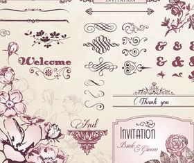 Floral Elements design vectors