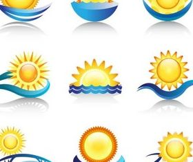 Sun Water Logotypes set vector