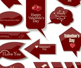 Maroon Love Elements vector graphics