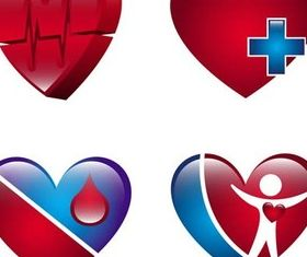 Cardiological Logo vector set