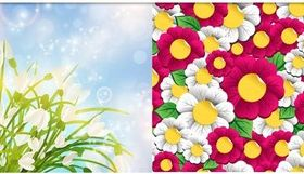 Floral Backgrounds art set vector