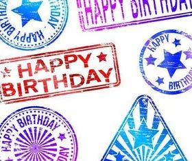 Grunge Birthday Labels vector