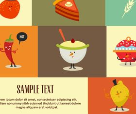 Food elements background 3 vectors material