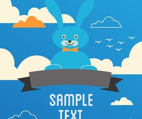 Cartoon clouds and animals background 1 vector