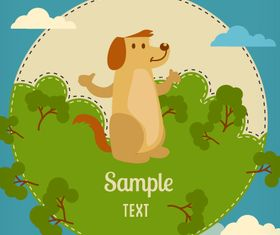 Cartoon clouds and animals background 2 vector