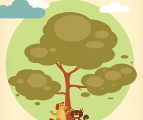 Cartoon clouds and animals background 4 vector