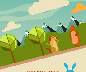 Cartoon clouds and animals background 6 vector