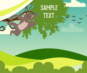 Cartoon clouds and animals background 12 vector