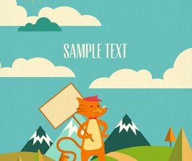Cartoon clouds and animals background 13 vector