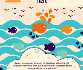 Cartoon Fish background 3 vector graphic