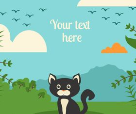 Black cat backgrounds 3 vector
