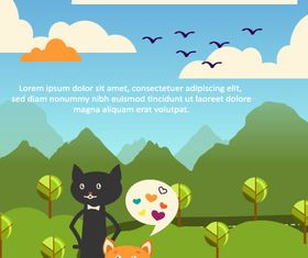 Black cat backgrounds 4 vector