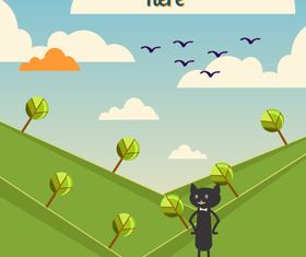 Black cat backgrounds 6 vector