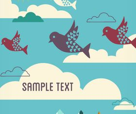 Birds cartoon background 2 vector design