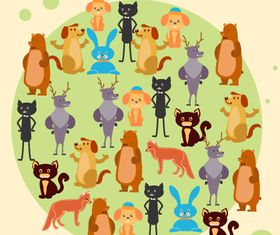 Small animals background 2 set vector