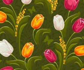 Beautiful tulips plexus vector