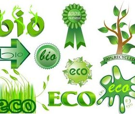 Ecology Style Labels vector graphics