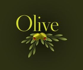 Hand painted olive set vector