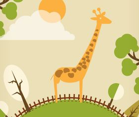 Giraffe cartoon background 3 design vector