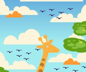 Giraffe cartoon background 4 design vector