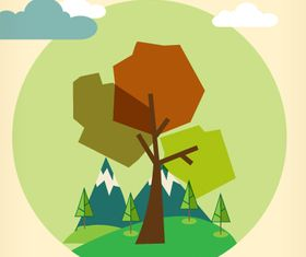 Cartoon tree background 1 vector