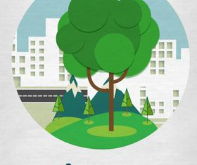 Cartoon tree background 2 vector