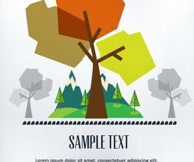 Cartoon tree background 3 vector
