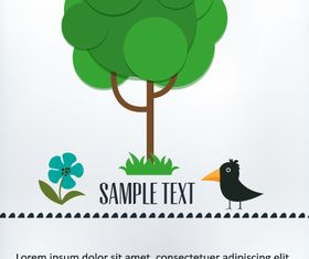 Cartoon tree background 4 vector