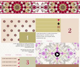 Floral website template vector
