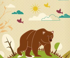 Cartoon Bear background 1 vector