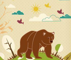 Cartoon Bear background 1 vector
