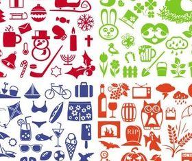 Season Different Icons vector