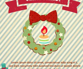 Vintage Xmas backgrounds vector material