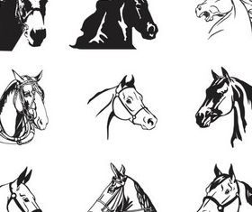 Horses heads free vector