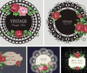Vintage Rose border vector