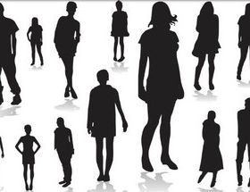 Silhouettes young people set vector