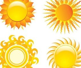 Sun graphic set vector