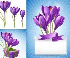 Purple daffodils set vector