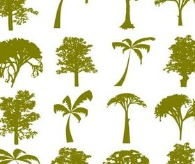 Green Trees Silhouettes vector