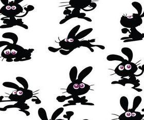 Cute Bunny Silhouettes art set vector