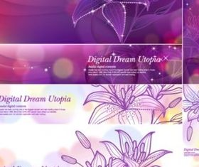 Bright Lily banner vectors graphics