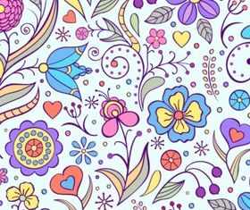 Playful painted flowers design vector