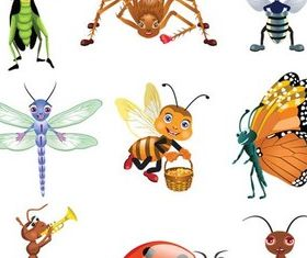 Different Funny Insects vector graphic