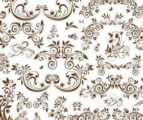 Floral Brown Elements vector design