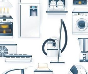 Different Kitchen Appliances shiny vector