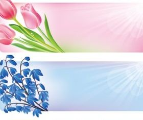 Spring flower border banners vector