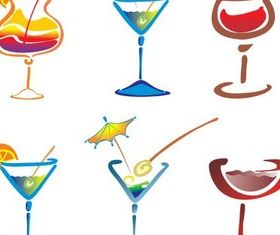 Drawn Cocktails graphic shiny vector